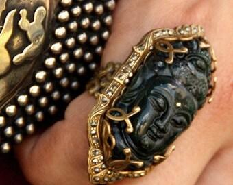 Buddha Ring, Art Deco Ring, Marcasite Ring, Boho Ring, Zen Jewelry, Large Ring, Yoga Ring, Buddha Jewelry, Yoga Jewelry, 1920s Ring R327