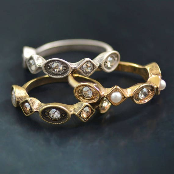 Vintage Stacking Rings Stackable Rings Silver Bronze Gold Etsy