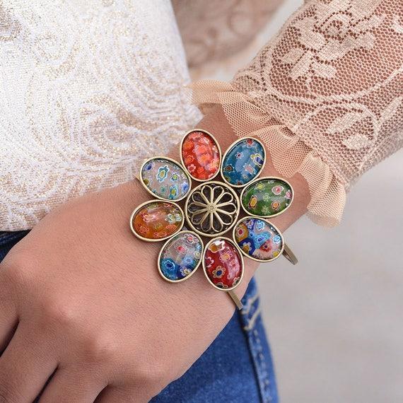 Millefiori Pulsera Pequeño Corazón Arco Iris Fashion Jewellery