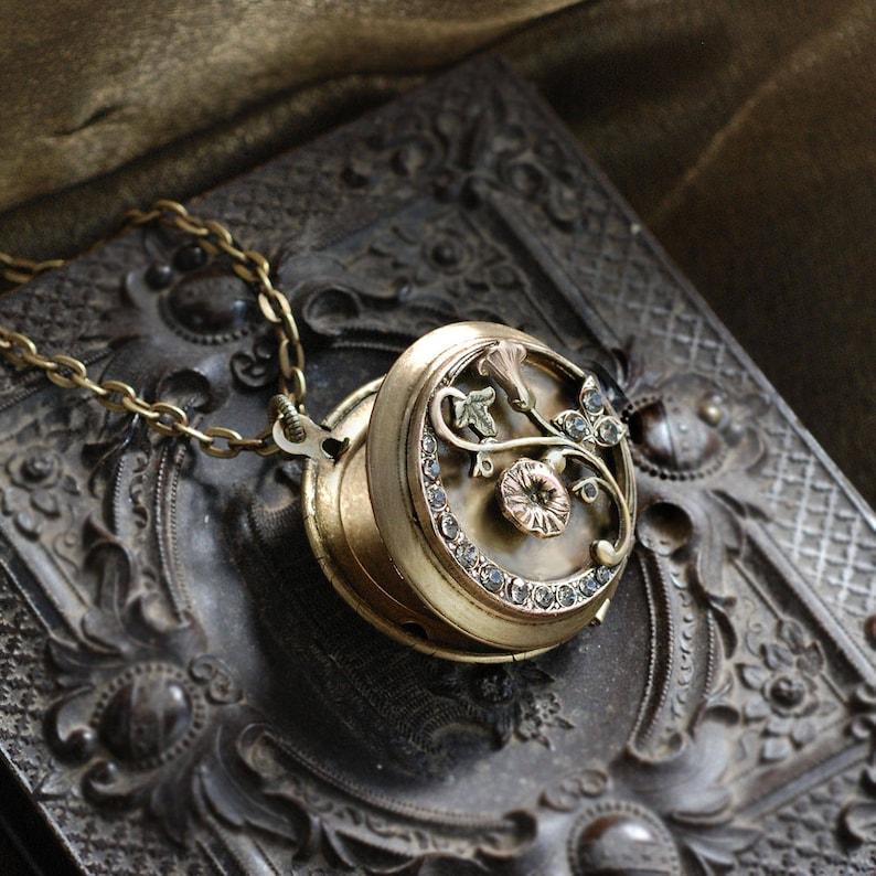 Morning Glory Bronze Locket Bronze Locket N1587 Flower Locket Morning Glory Locket Morning Glory Necklace Flower Necklace
