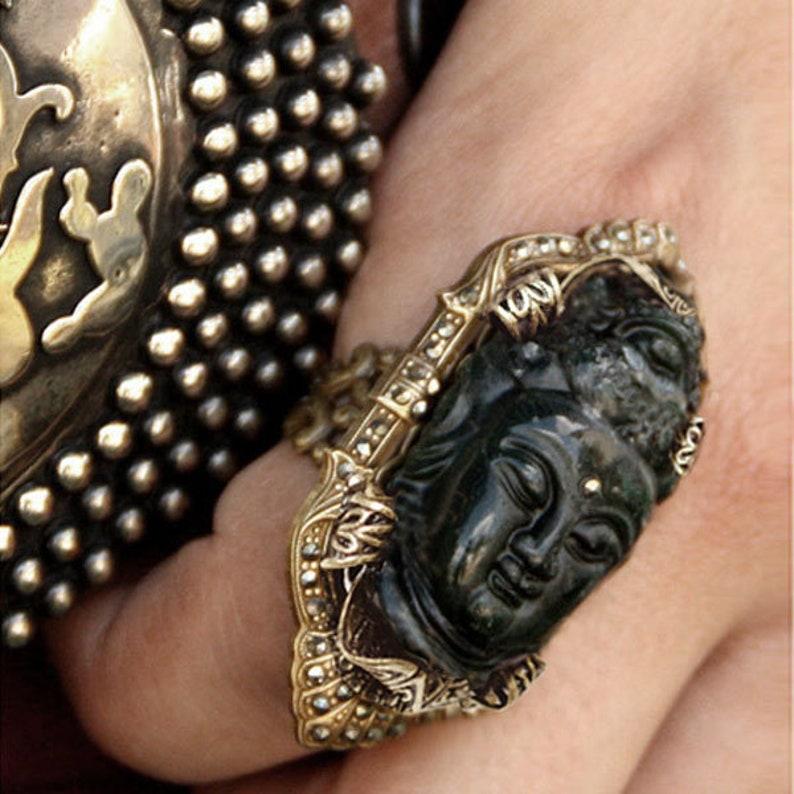 Boho Ring Yoga Ring Zen Jewelry Large Ring Buddha Ring Marcasite Ring Art Deco Ring Yoga Jewelry Buddha Jewelry 1920s Ring R327