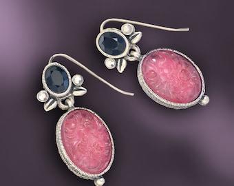Vintage Glass Deco Earrings E1231