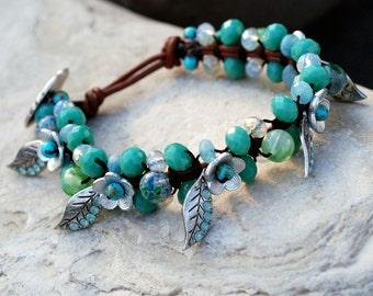 Beaded Bracelet, Gemstone Bracelet, Boho Wrap Bracelet, Hand Knotted Mala, Yoga Bracelet, Meditation Bracelet, Boho Bracelet BR446