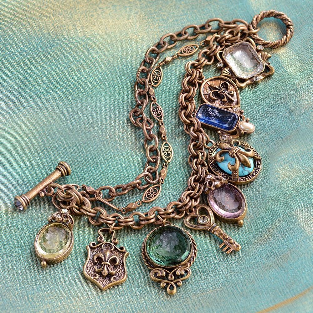 Fleur De Lis Charm Bracelet: Vintage French Intaglio Charm Bracelet Fleur De Lis