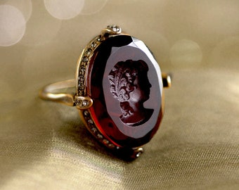 Cameo Intaglio Ring, Blue stone ring, Amethyst Ring, Ruby Ring, Vintage Ring, Cocktail Ring, Antique Ring, Statement Ring R130