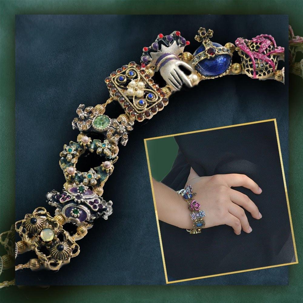 Slide Charms For Bracelets: Vintage Slide Bracelet Slider Charm Bracelet Victorian