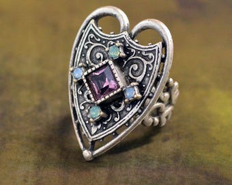 Renaissance Heart Ring, Renaissance Jewelry, Elizabethan Ring, Gothic Ring, Medieval Ring, Heart Ring, Victorian Ring, Gothic Jewelry R556