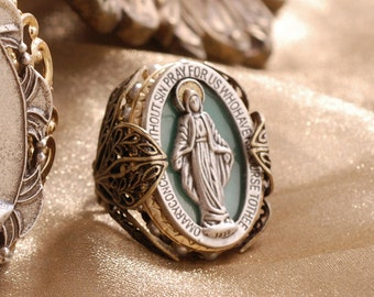 Queen of Miracles Virgin Mary Ring, Our Lady, Religious Jewelry, Catholic Jewelry, Madonna Ring, Catholic Gift, Antique Ring R900