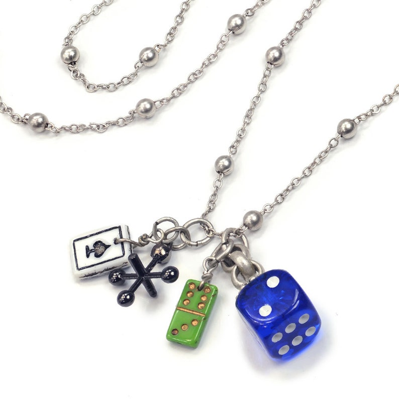 Games of Chance Charm Necklace Lucky Necklace Game Pieces image 0