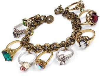 Ring Charm Bracelet, Ring Charm, Charm Bracelet, Antique Rings, Vintage Ring, 14K Gold Ring, Vintage Bracelet, Bracelet, Ring BR122