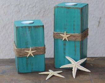 Beach Candle Holders Beach Bathroom Decor Wood 4x4 Beach Candles Teal Decor  Coastal Home Decor Starfish Decor Beach Gifts
