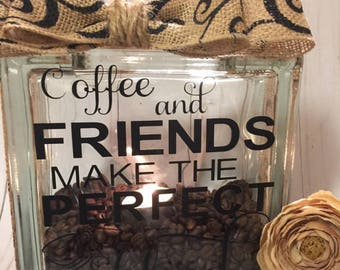Friendship Glass Block Best Friend Gifts Coffee Blocks For Woman Birthday Home Decor