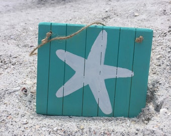 Starfish Beach Wall Decor Wooden Beach Sign Starfish Decor Teal Beach  Bathroom Decor Nautical Coastal Beach House Decor