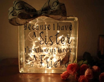 Sister Wedding Gift Glass Block Light With Inspirational Quote In Law Gifts Birthday Sisters