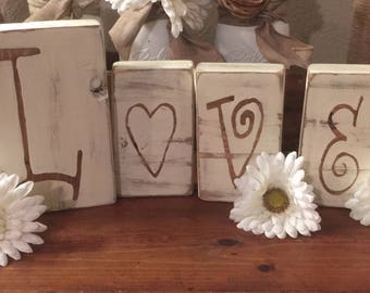 105b0f1b7c2 Love wooden letters Rustic wedding signs Rustic bridal shower decorations  Wedding table decorations Love Wood block words Centerpieces