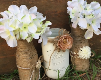 Rustic Wedding Centerpieces Country Decorations For Table Twine Wrapped Bottles Mason Jar Bridal Shower Decor