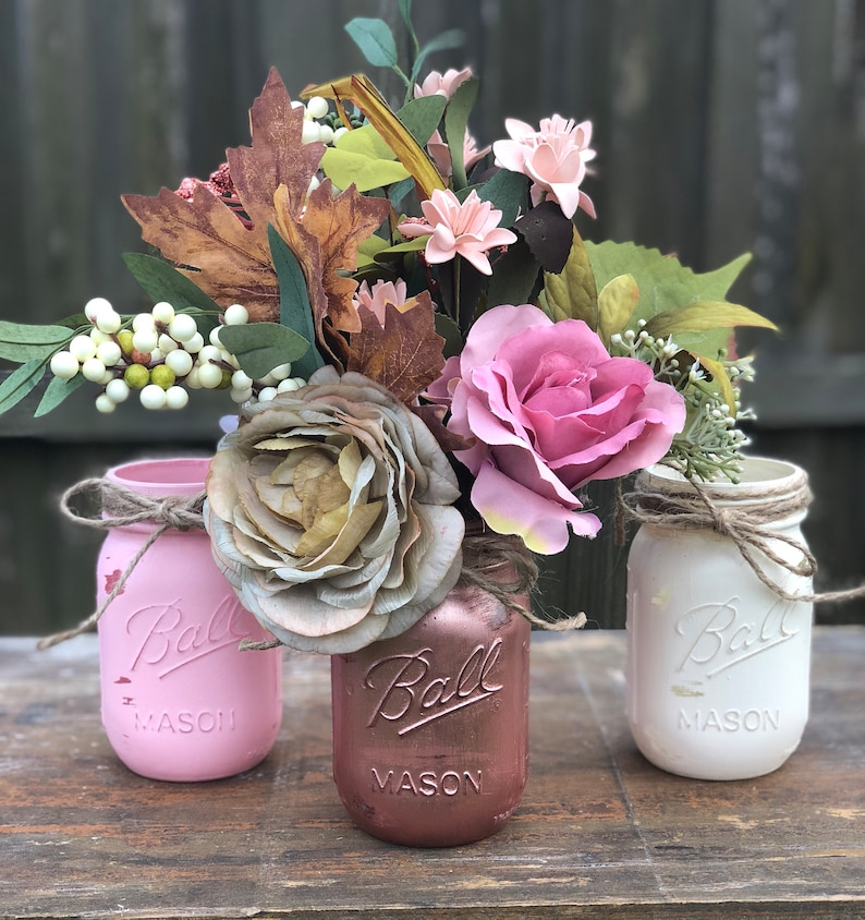 Rose Gold Wedding Decor Centerpieces Pink White Rose Gold Mason Jars Vintage Wedding Decor Wedding Table Decorations Reception Table