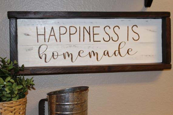 Farmhouse Framed wall decor Kitchen wall decor Happiness is   Etsy