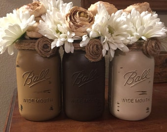 Rustic Table Centerpiece Dining Room Table Decor New Home Gift Mason Jar  Centerpieces Painted Mason Jars