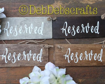 Wood reserved sign Wedding signs Reserved chair Reserved row sign Reserved seat sign Wedding signage Rustic wedding decor