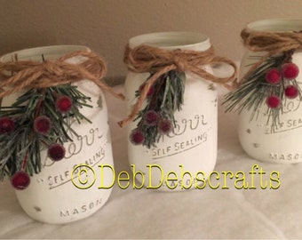 Rustic Christmas decor Christmas mason jars Home decor Christmas centerpiece for table Christmas gifts Christmas decorations