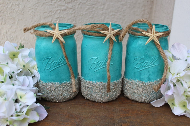 Terrific Beach Wedding Decor Centerpieces Beach Mason Jars Beach Theme Bridal Shower Centerpiece Coastal Wedding Reception Decorations Starfish Decor Home Interior And Landscaping Palasignezvosmurscom