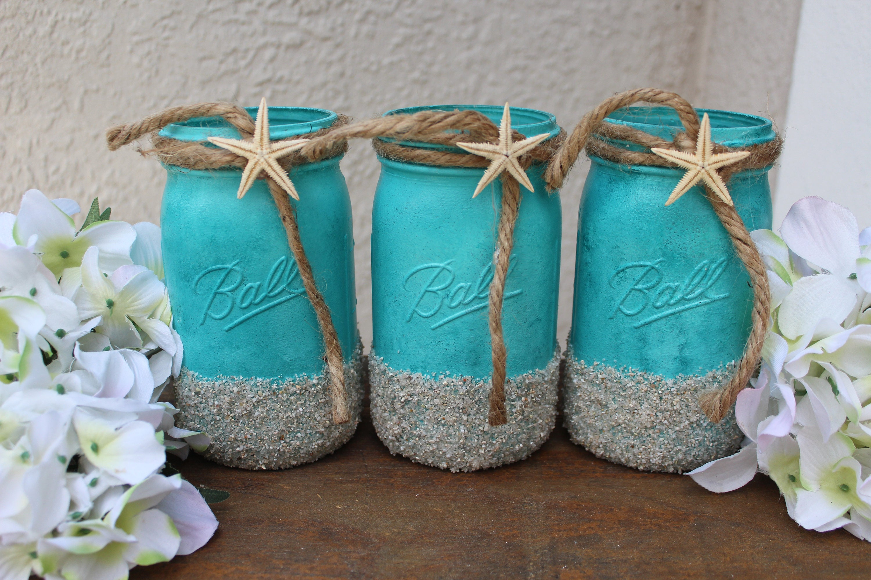 beach wedding decor centerpieces beach mason jars beach