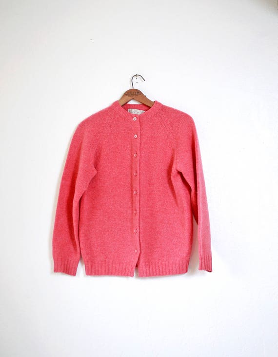 Womens medium Vintage pink minimal wool button down cardigan  5bba1f24d