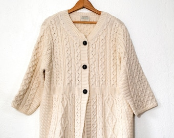 Womens Vintage L XL XXL Fisherman Style Button Down wool cardigan Irish Knit Kilronan made in Ireland Hand knit Irish Sweater White Jumper