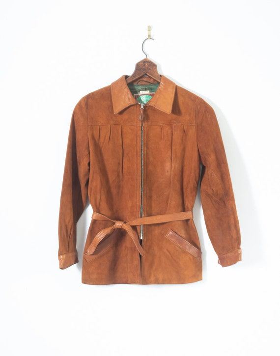 Womens Belted 1940s Brown Suede Small XS Buckskin