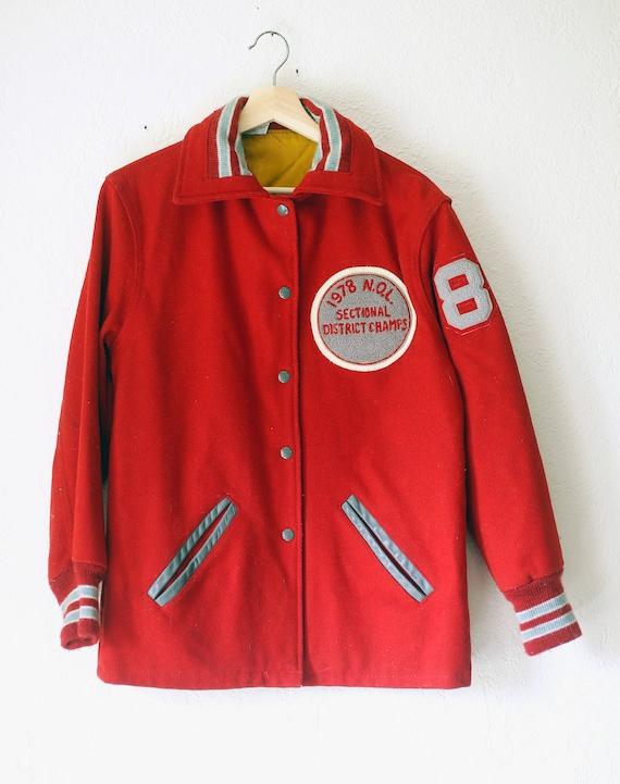 Vintage Varsity Jacket Red Wool 1970s Shelby Kaye