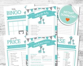 Giraffe Baby Shower Games, Giraffe Games, Teal, Gray, Flags, Spots (Matches Chalkboard)   Instant Download