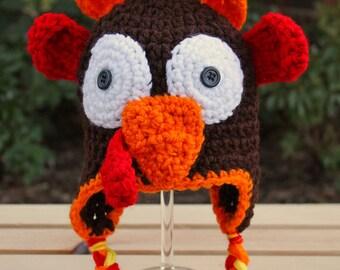 Crochet Turkey Hat, Photo Prop, Handmade