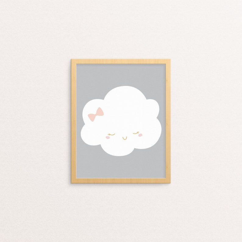 graphic about Printable Cloud identified as Cloud Printable Wall Artwork Nursery Printable Cloud Bow White, Crimson, Gray Youngster Females Nursery Decor Playroom Adorable Encounter, Smile Young children