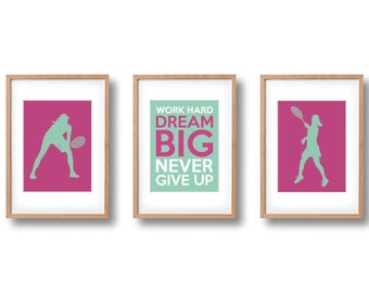 Tennis Gifts | Tennis Wall Art Print Set of 3 | Pink, Grayed Jade Printable | Girls Tennis Decor | Instant Digital Download | Sports Team