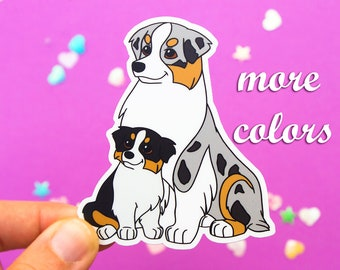 Australian Shepherd and puppy vinyl sticker blue merle black tri red tri red merle