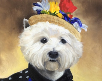 Original Oil Painting of West Highland white terrier dog westie by artist on canvas