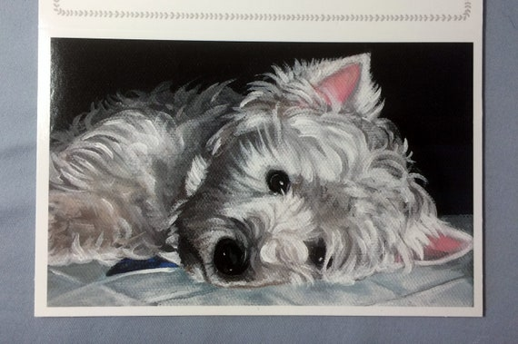 Sale Westie West Highland White Terrier Pet Loss Sympathy Glossy Greeting Card From My Original Oil Painting