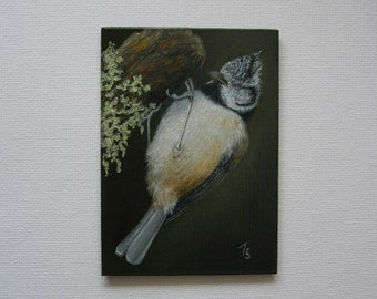 ACEO - Miniature oil painting - Crested Tit - Bird