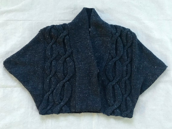 Chunky Cable Knit Wool Cropped Sweater, Navy Cardi