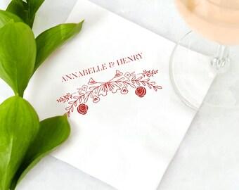 ROSE LAUREL Cocktail Napkins - Wedding Napkins, Wedding Decor, Custom Cocktail Napkins, Garden Wedding, Foil Stamped Napkins, Party Napkins