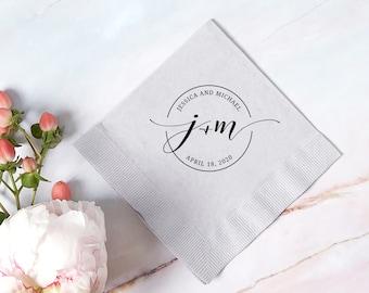 Personalized Wedding Cocktail Napkins- Circle Monogram - Wedding Decor, Paper Napkin, Monogram Initial, Bridal Shower, Anniversary, Napkin