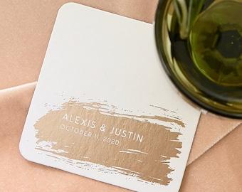 Personalized Wedding or Party Coasters - Bold Brush Stroke - Custom Wedding Coasters, Engagement, Bridal Shower or Brunch Drink Coaster