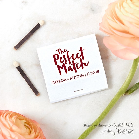 The Perfect Match Wedding Matchbook Wedding Favor Wedding Etsy