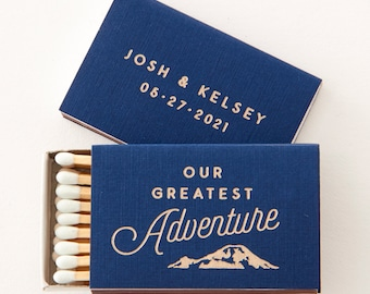 Personalized Matchboxes Our Greatest Adventure - Wedding Favors, Wedding Matches, Personalized Matches, Custom Matchbox, Outdoor Wedding