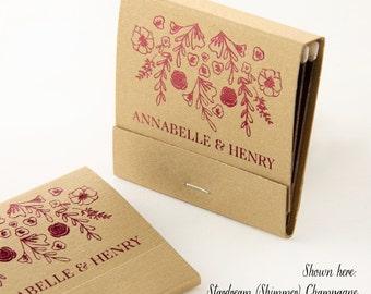 Personalized Matchbooks Custom Roses Design - Wedding Favor Matches, Wedding Decor, Personalized Matches, Custom Matchbook, Bridal Shower
