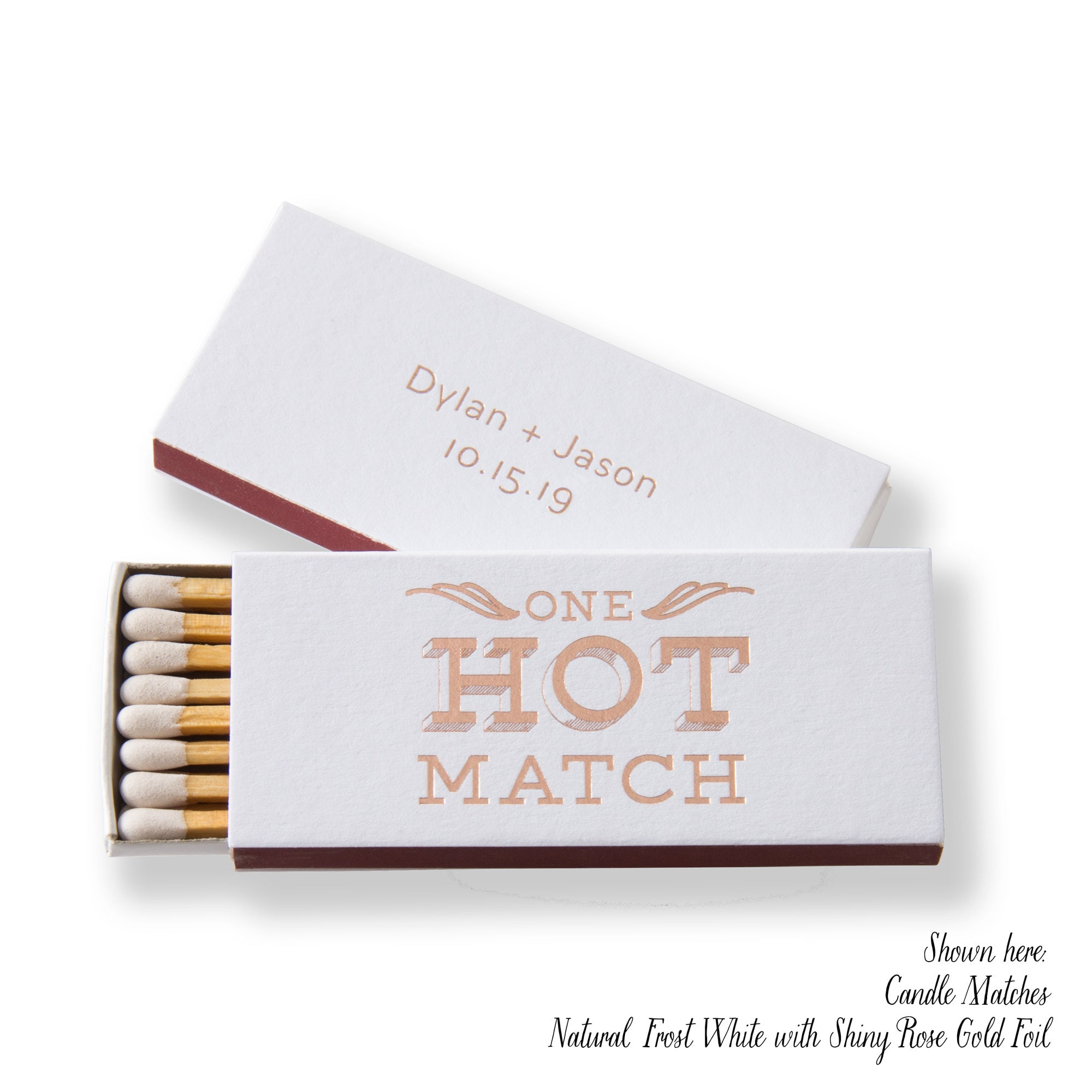 ONE HOT MATCH Cigar or Candle Matchboxes Wedding Favors