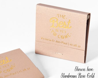 BEST IS YET To Come Matchbooks - Wedding Favor, Wedding Matches, Wedding Decor, Matchbook Art, Custom Matchbook, Engagement Party, Gold Foil