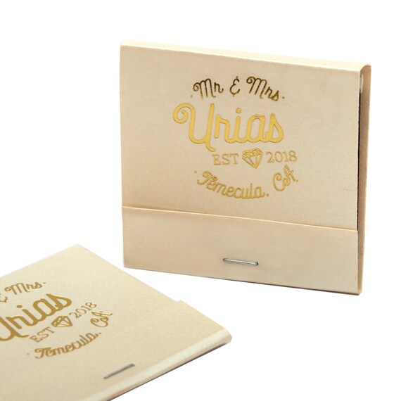 Mr Mrs W Diamond Matchbooks Wedding Favors Wedding Etsy