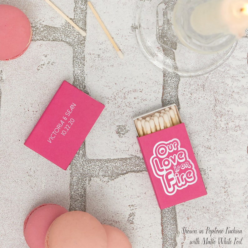 Retro Our Love is on Fire Custom Wedding Matchboxes Wedding Favor Bridal Shower Favor Matchbox Personalized Wedding Matches